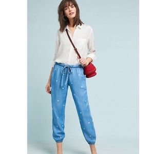 Anthro Cloth & Stone Large chambray Dotted Pants